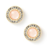 Glitter Stone Cabochon Button Stud Earrings  | Icing