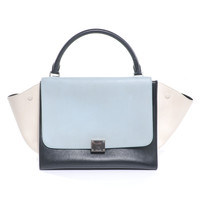 CELINE Calf Leather Tricolor Trapeze Teal