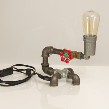 Industial Style Pipe Lamp with Edison Style Bulb - Vintage Style Bulb with warm yellowish light