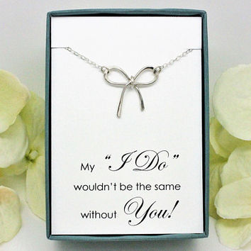 Gift for Bridesmaid or Maid of Honor, Set of 3, 6, 9, 12, Bow necklace 925 sterling silver necklace, bridal party gifts for bridesmaids box