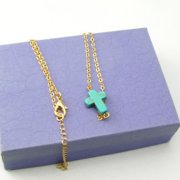 Horizontal Turquoise Cross Necklace in Gold/Cross Pendant/Genuine Turquoise