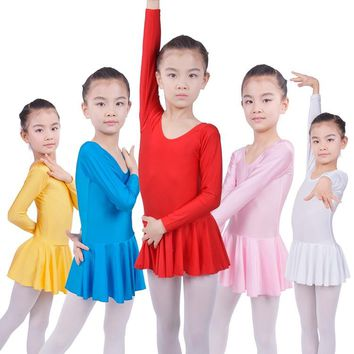 Long sleeved Spandex Gymnastics Leotard Swimsuit Ballet Dancing Dress Kids Dance Wear Skating Dresses for Girls