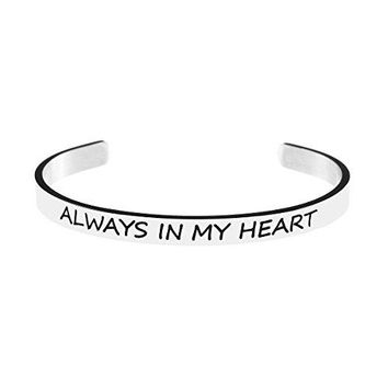 Yiyang Sympathy Gifts Friendship Cuff Bracelets for Women Motivational Bangle Jewelry Birthday Gift for GirlsAlways in my heart