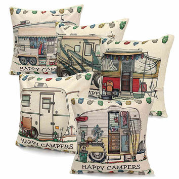 Linen Square Happy Campers Pillows Case Cover Cut Bus Pattern Throw Invisible Zipper Design Home Textile