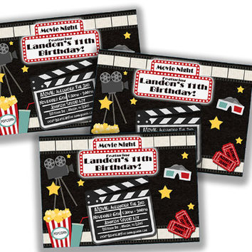 Stars Movie Party Invitation - Hollywood Movie Birthday Invitation - Clapboard - Marquee - Popcorn - Movie Night Red Carpet - Lights Camera