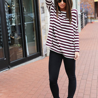 Maroon + Ivory Striped Piko