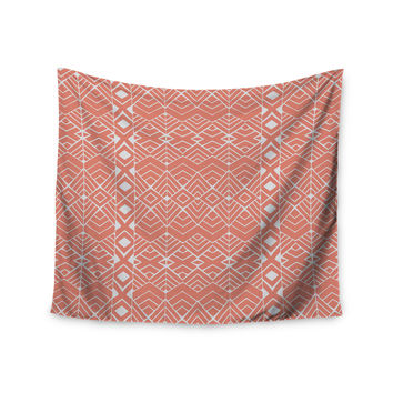 "Pom Graphic Design ""Aztec Roots"" Orange Tribal Wall Tapestry"