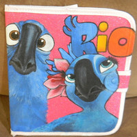 Hand Painted OOAK Rio Movie Blu & Jewel Ipad Tablet 1 2 3 Carry Case Protector