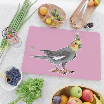 Cockatiel bird Cutting Board by savousepate