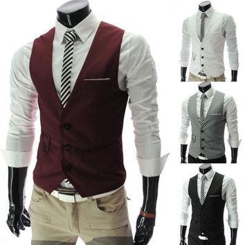Men's Formal Casual Dress Vest Tie Suit Slim Fit Tuxedo Waistcoat Jacket Coat US