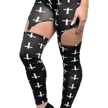 BadAssLeggings Women's White Crosses Garter Leggings Medium Black