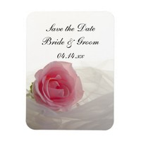 Pink Rose on White Wedding Save the Date