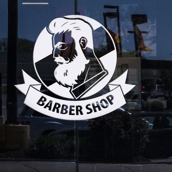 Window Sign and Wall Stickers Vinyl Decal Barber Shop with Ribbon Logo Haircut Men Salon (n679w)