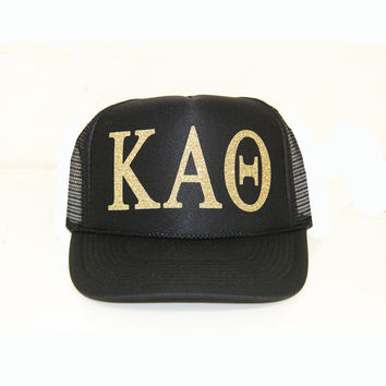 Kappa Alpha Theta Trucker Hat, Theta Trucker Hat, Greek Letter Glitter Trucker Hat, Sorority Letter Cap, Greek Trucker, Sorority Trucker hat