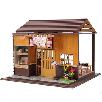 Japanese Zakka Style Sakura Sushi Bar Dollhouse with Furniture, Novelty DIY Wooden Doll House Assembling Christimas Model Toy