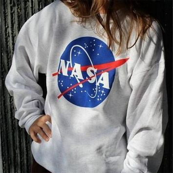 Ladies NASA Printed Long Sleeved Sweatshirt Womens Off Shoulder Jumper Tops loose shirt s-xl [9210699651]