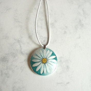 Trendy Hand Painted Flower Necklace Daisy Pendant Wood by ARTDORA