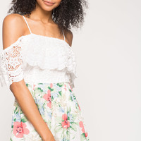 Bloom Crochet Off Shoulder Romper
