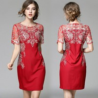 women dresses high quality red party event dress white vintage pattern embroidery dress