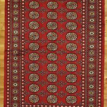 Authentic Handmade Rug 5' x 7' Floral Medallions New Red Bokhara Wool Rug