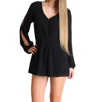 Umgee Black Long Sleeve Romper