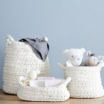 Ivory Chunky Knit Nursery Storage