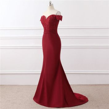 Vestido De Festa Burgundy Evening Dresses Mermaid Satin Lace Women Formal Dresses Party Gowns Robe S