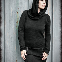 SWEATER Tunic Mini DRESS Long Sleeves Black Industrial Goth