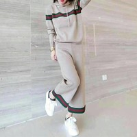 Women Casual Multicolor Stripe Knit Long Sleeve Hooded Sweater Wide Leg Pants Set Two-Piece Sportswear