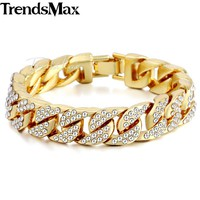Trendsmax Mens Bracelet Hiphop Iced Out Miami Curb Cuban Gold-color Paved Clear Rhinestones Chain Jewelry 14mm GB403