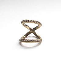 Infinity sparkle knuckle double ring