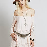 New Love Project For Free People Gauze Off The Shoulder Dress In Peach (Rare/Fp Exclusive)