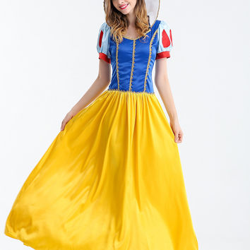 Adult Snow White Costume Cartoon Princess Cosplay Fantasia Halloween Costumes For Women Masquerade Fancy Carnival Party Dress