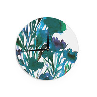 "Ebi Emporium ""Petal For Your Thoughts Teal"" Turquoise Green Wall Clock"