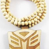 Transformers Megatron Wooden Necklace Hip Hop Music Wood Fashion Beads 36