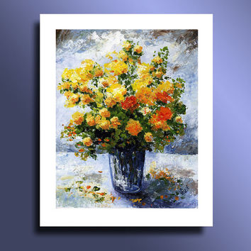 Print of Original acrylic painting Still life with Yellow and Orange Flowers Wall Art Home Decor