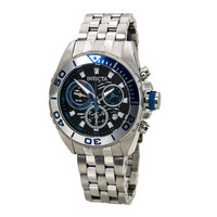 Invicta 14724 Men's Pro Diver Wave Black Dial Steel Bracelet Chronograph Dive Watch