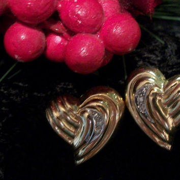 Diamond Earrings Free Form Hearts 14K Yellow Gold Vintage Estate Fine Jewelry