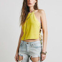 Yellow Strappy Crop Tank Top
