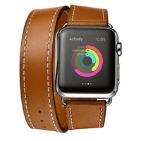 Apple Watch Band, Elobeth iWatch band Genuine Leather Strap Wrist Band Replacement Clasp for Apple Watch & Sport & Edition(42mm Brown)