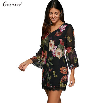 Gamiss Women Spring Summer Lace Dress 3/4 Flare Bell Sleeve Sexy V-neck Flora Printed Mini Black Boho Dresses Female vestidos