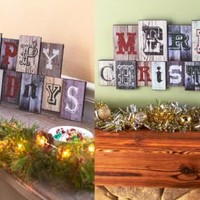 Christmas Holiday Wooden Sentiment Wall Hangings Country Rustic Primitive Decor