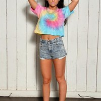 90's Style Rainbow Crop Tie Dye T-shirt...Follow me for more:)