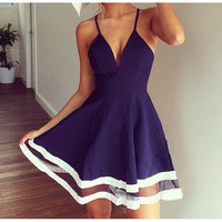 SUSPENDERS STITCHING CHIFFON DRESS