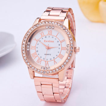 Women Luxury Dial Crystal Bracelet Watch Stainless Steel Band Roman Numbers Analog Quartz Wrist Watch Watches Relogio Feminino