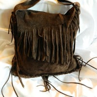 Dark Chocolate Brown Suede Leather Messenger Bag by LeatherCrafted