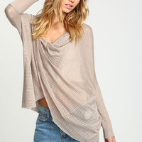 WRAP TWIST DOLMAN KNIT TOP