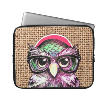 Cool  Colorful Tattoo Wise Owl With Funny Glasses Laptop Sleeves from Zazzle.com
