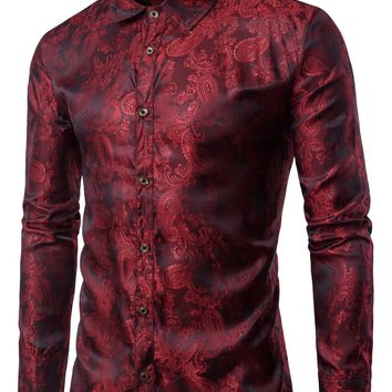 Turndown Collar Paisley Vintage Shirt - Wine Red - M
