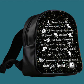 disney lessons learned mash up on sparkle for Backpack / Custom Bag / School Bag / Children Bag / Custom School Bag *